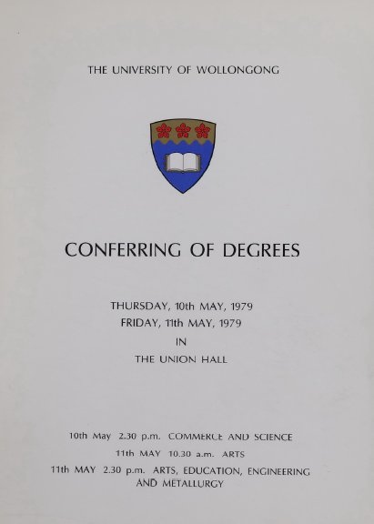 University of Wollongong Graduation Booklets