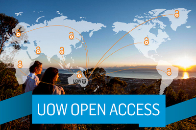 UOW Open Access - image of the world showing UOW-affiliated campuses as unlocked locks